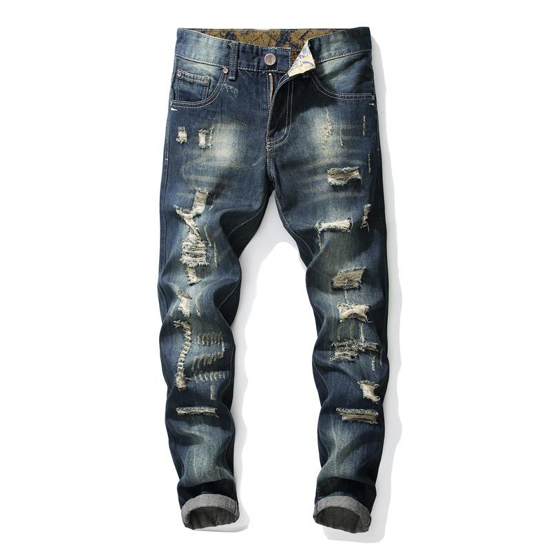 Solid Straight Hole Slim Fit Long Jeans