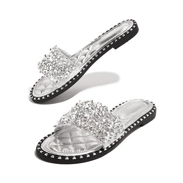 Zoeyootd Fashion Embellished Open Toe Slippers