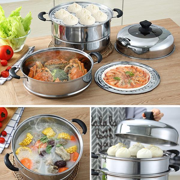 30cm stainless steel 3-layer steamer