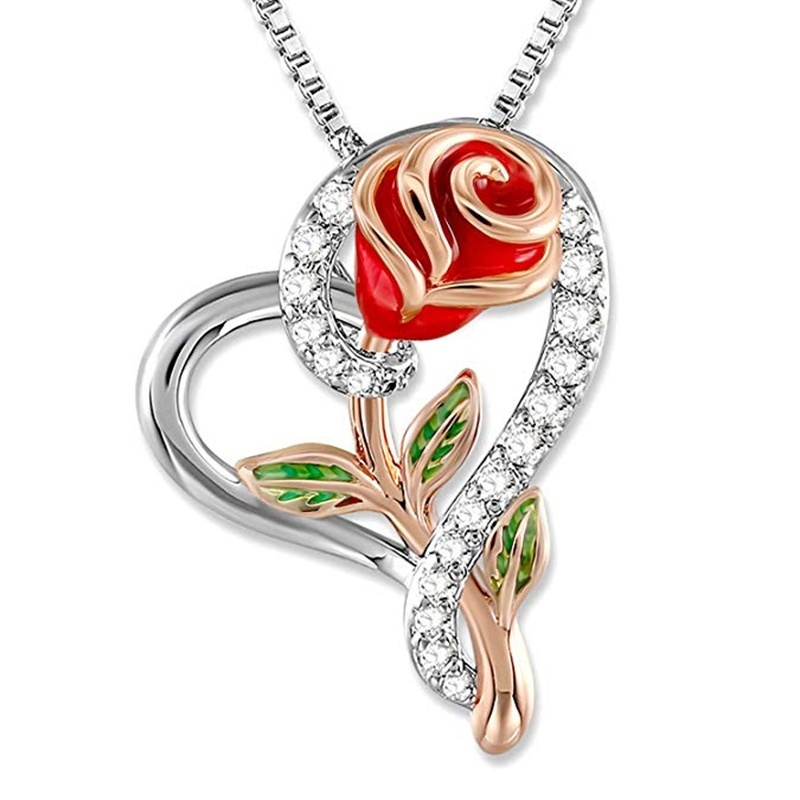 Rose Necklace for Women 5A Cubic Zirconia Love Heart Pendant Necklace Jewelry