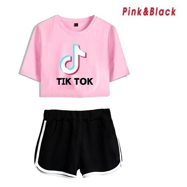 2020 New Spring and Summer New Tik Tok Ing Endless Loose Large Size Short Sleeve Crop Top and Shorts Set