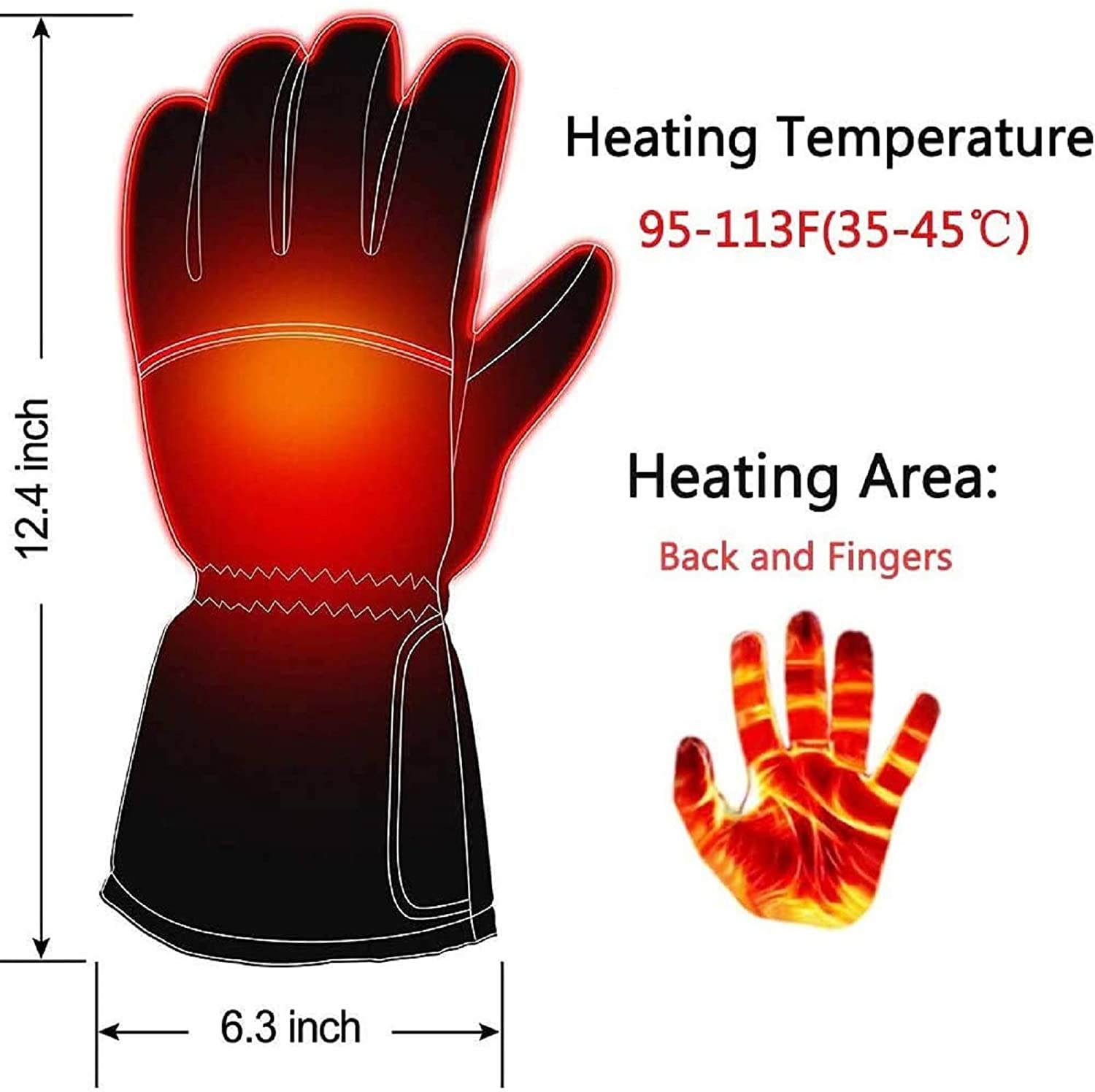 Carbon Fiber Battery Heating Wire Heating Gloves Safe & Warm