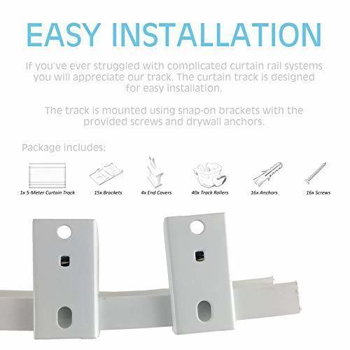 5M Ceiling Curtain Track | Ceiling Track Ceiling Mount for Curtain Rail with Tra