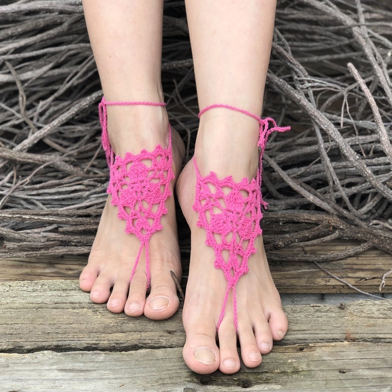 White barefoot sandals Crochet beach wedding sandles Bridal anklets Bare foot jewelry Soleless shoes Footless sandles