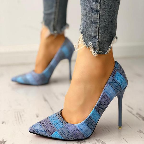 Mokoshoes Contrast Color Pointed Toe Thin Heels