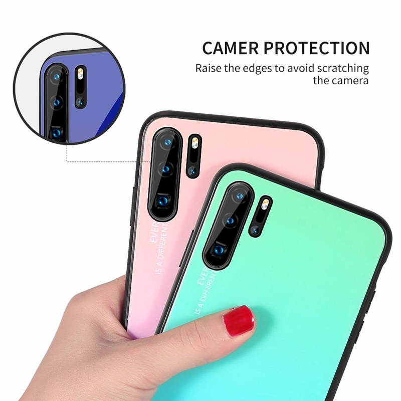 For iPhone 11Pro Max 11Pro 11 XsMax Xs Xr X Fashion Gradient Glass Cases For Samsung Galaxy Note10Pro Note10 S10Plus S10e S10 S10(5G) S9Plus S9 S8Plus S8 Note8 Note9 A40 A50 Soft TPU Edge+Hard Glass Back Cover For Huawei P30Pro P30 P30Lite P20Lite Mate20
