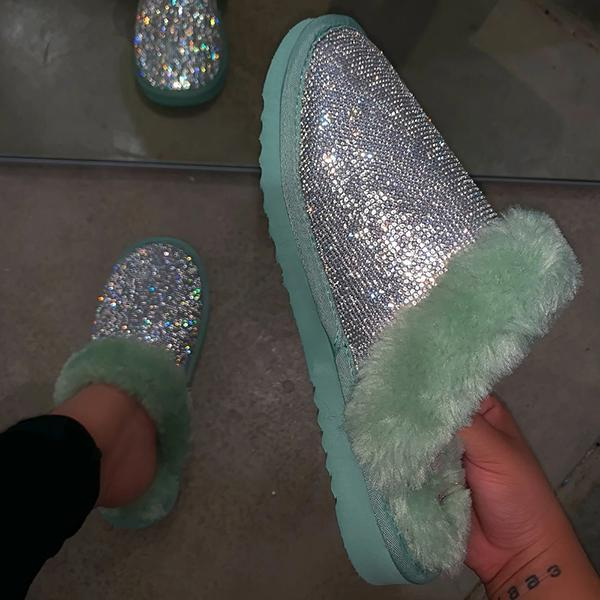 Trendymap Diamond Faux Fur Slippers