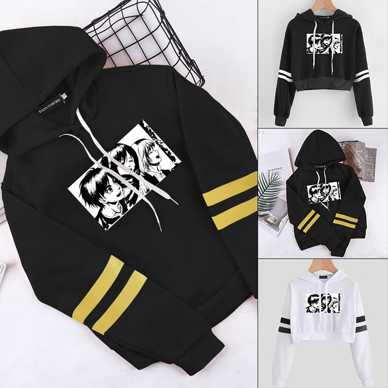 2021 New Women Fashion Attack On Titan Printed Croppped Hoodie Casual Long Sleeves Sports Sweatshirts Hip Hop Trendy Pullover Tops For Women Teens