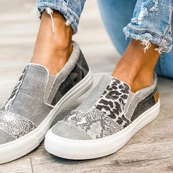 Twinklemoda Pieced Raw Edge Animal Print Canvas Slip-On Flats