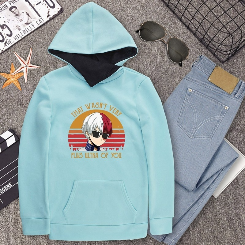 2020 Autumn And Winter Fashion My Hero Academia Print Hoodies Lapel High Collar Long Sleeve Hooded Sweatshirts Casual Pullover Tops Sweater For Women