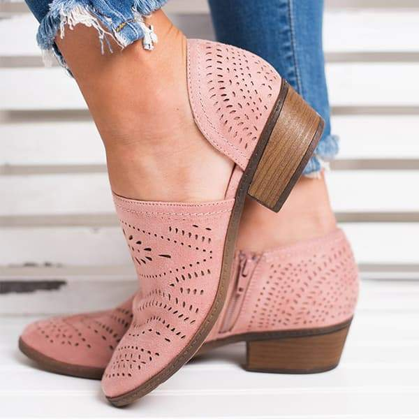 Mokoshoes Hollow Low Heel Cutout Booties