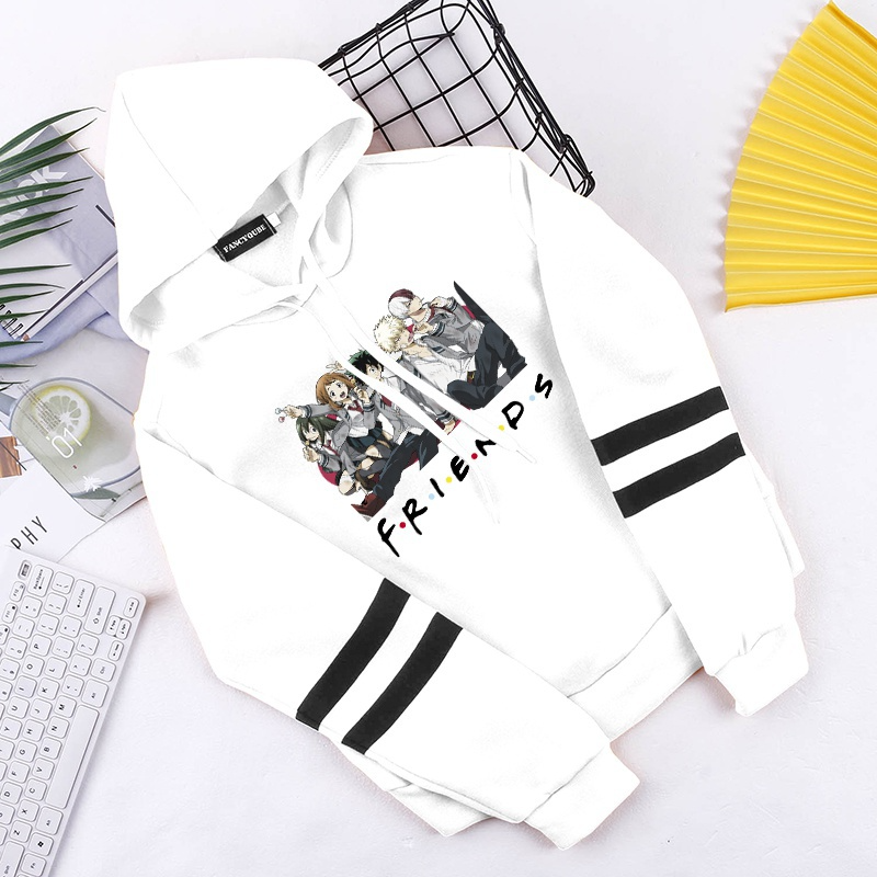 New Top Anime My Hero Academia Fashion Printed Hoodie Casual Stripe Pullover