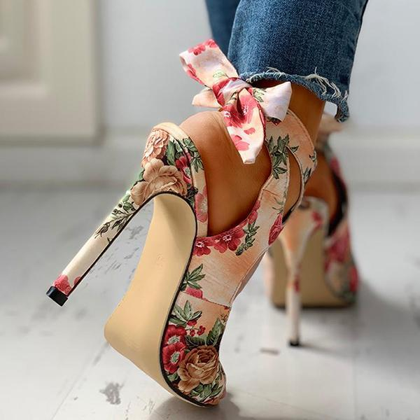 Mokoshoes Floral Print Peep Toe Cut Out Thin Heeled Sandals