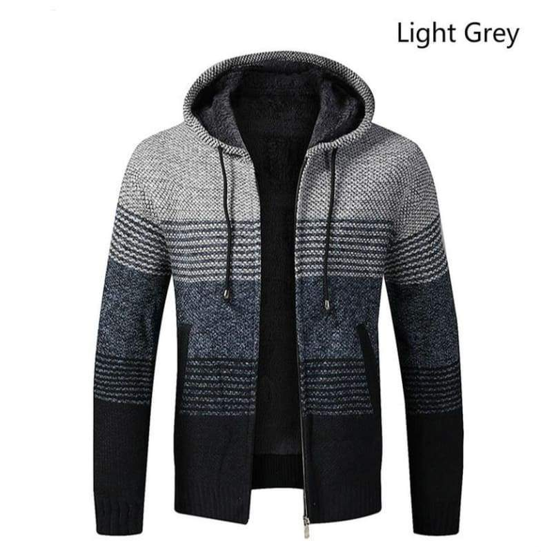Atuumn and Winter Men's Fashion Hooded Knitted Sweaters Casual Hoodies Sweatshirts Thicken Warm Zipper Cardigan Sweater Coat