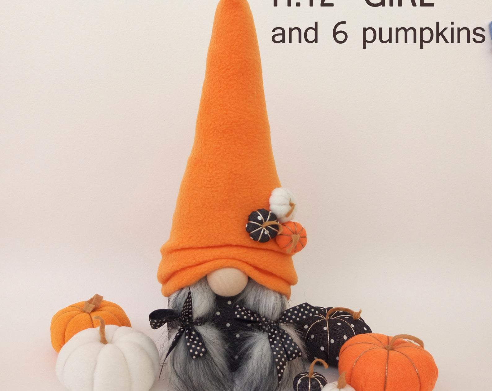 Halloween Gnomes with 6 Pumpkins Fall Gnome Stuffed Gnome Dolls Autumn Gnome Gift Thanksgiving Décor Orange Plush Gnome Tiered Tray Decor