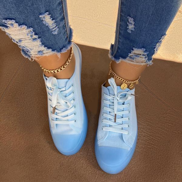 Twinklemoda Round Toe Low-Cut Upper Lace-Up Plain Sneakers