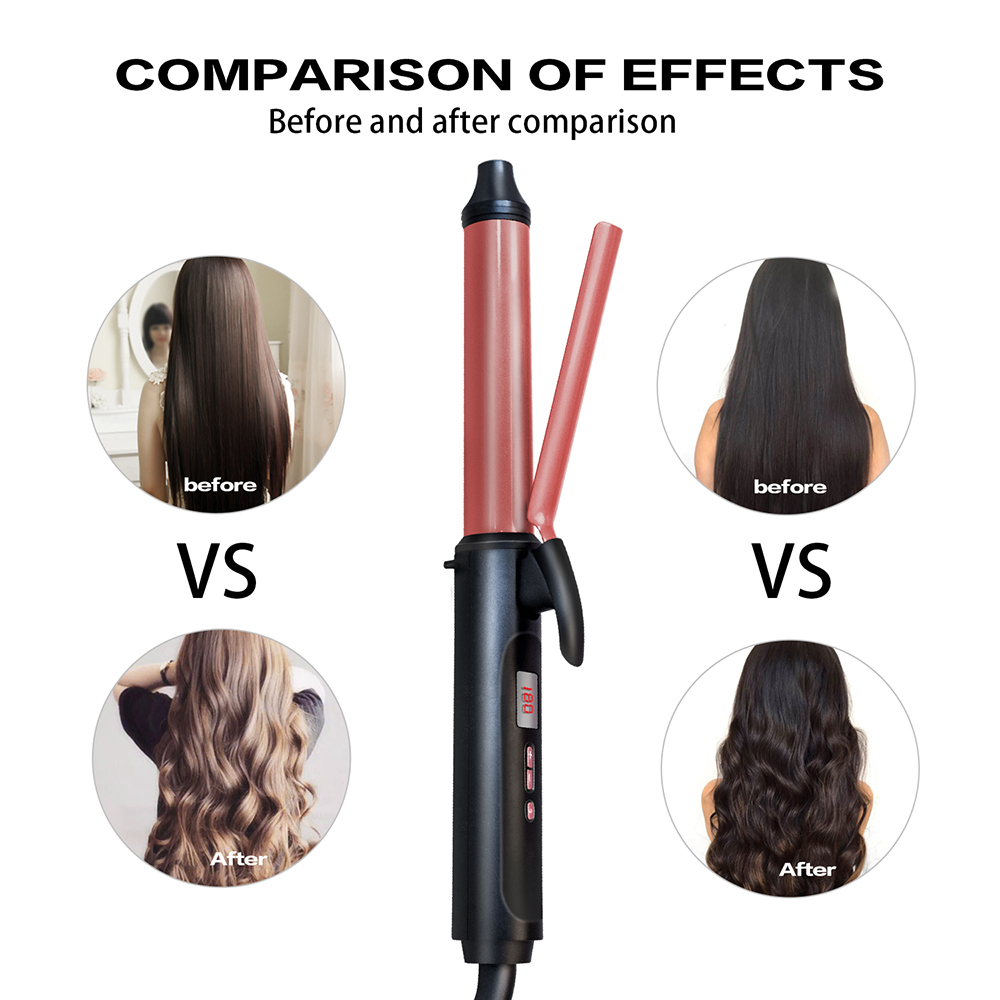Professional Style Hair Curls Waves 9mm/26mm Rose Gold Electric hair curling wand Dual Voltage Anti-scalding hair curler iron