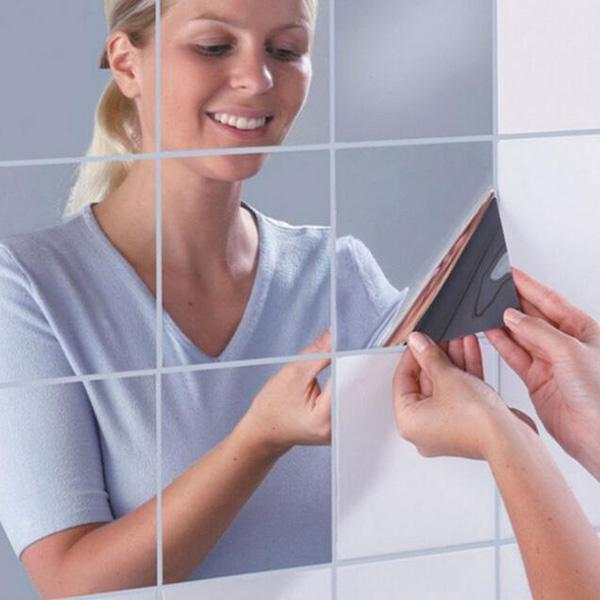 Modern 3D Self Adhesive Mirror Tile Square Wall Stickers