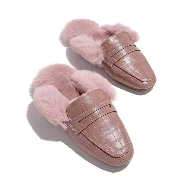 Faddishshoes Fur Warm Suede Comfortable Slippers