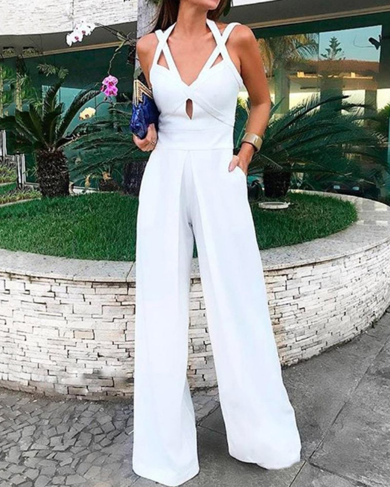 Sexy Solid Color  Deep V Sleeveless Halter Jumpsuit