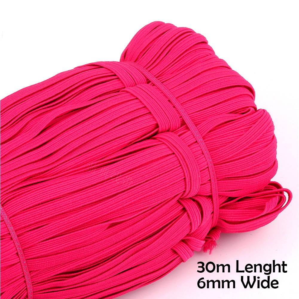 30m Length and 6mm Width Multicolor DIY Mask Made Elastic Bands Sewing Crafting Materials