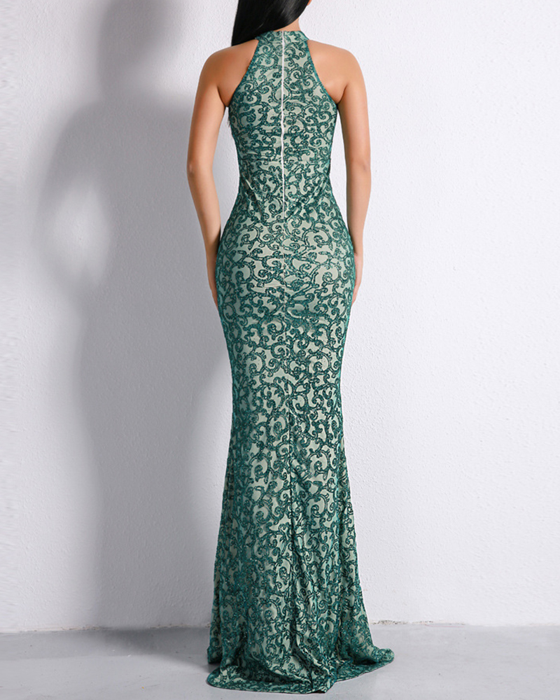 Sexy High-Necked Off-The-Shoulder Sleeveless Evening Dress