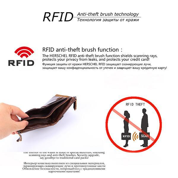 Genuine Leather RFID Anti-theft Wallet