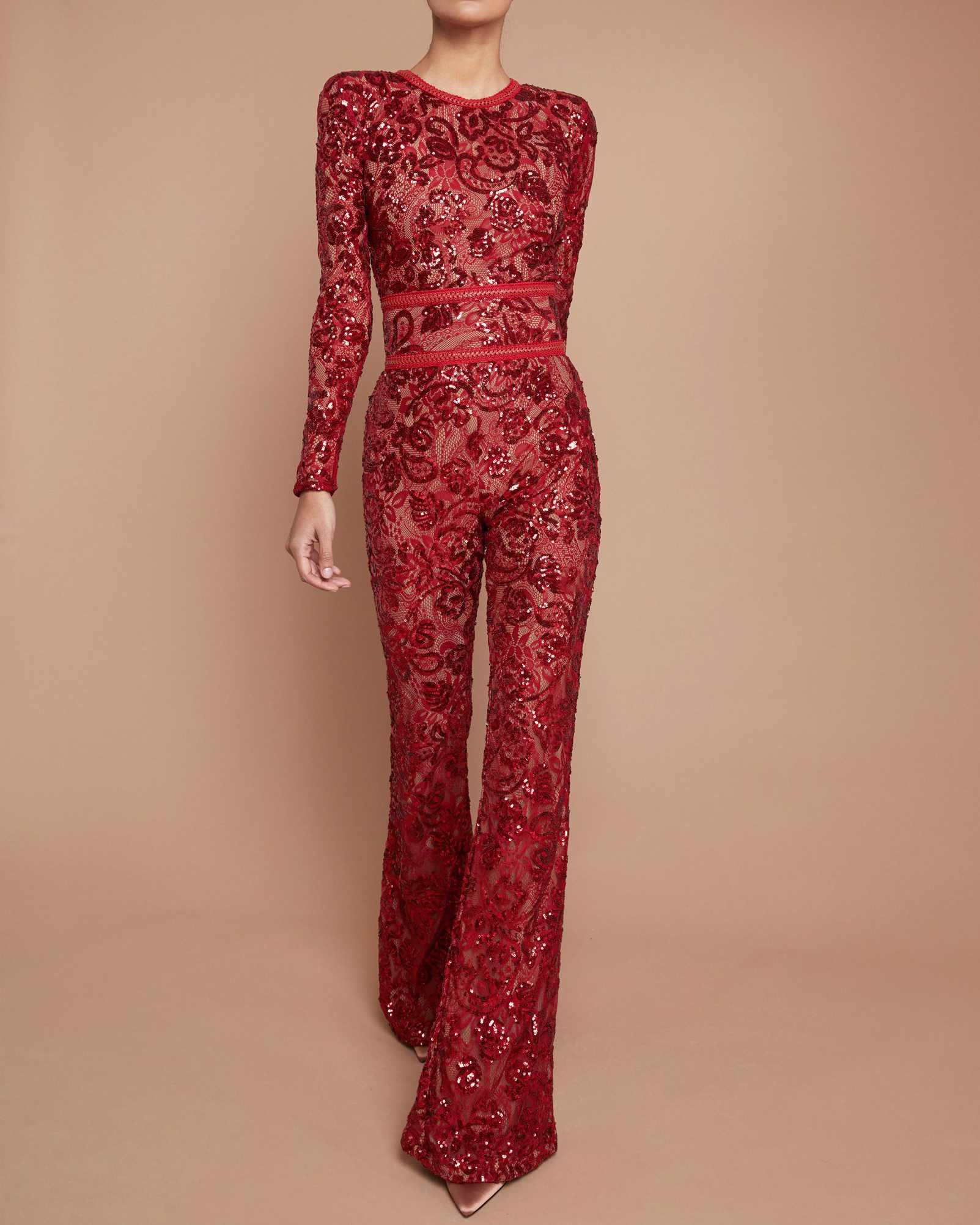 Fashion Sequin Lace Long Sleeve Jumpsuit With Bandage Belt