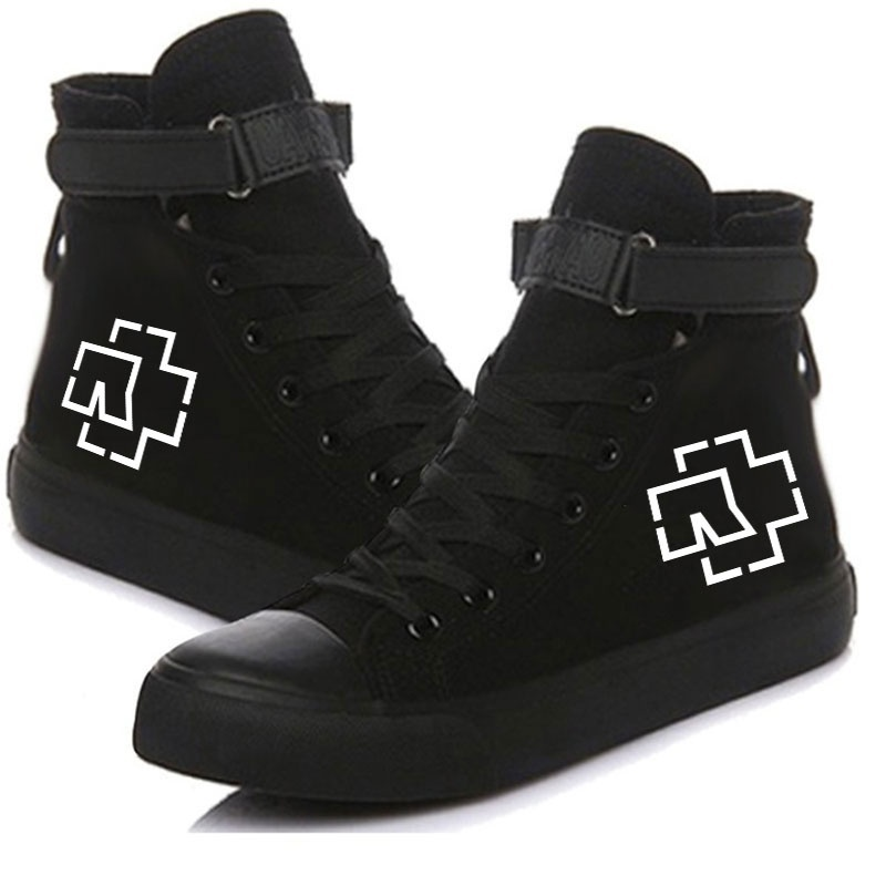 New Fashion Rammstein Logo Printed Unisex High Top Canvas Shoes Velcro Lace Sneakers Student Casual Flat Shoes