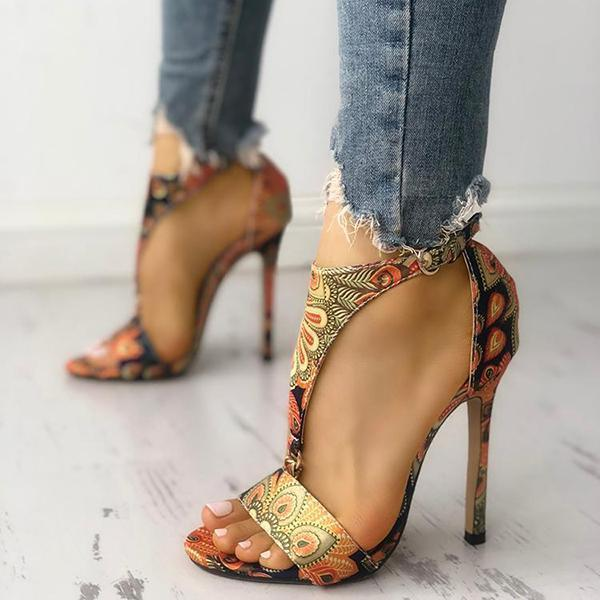 Upawear Peacock Feather Print T-Strap Thin Heeled Sandals