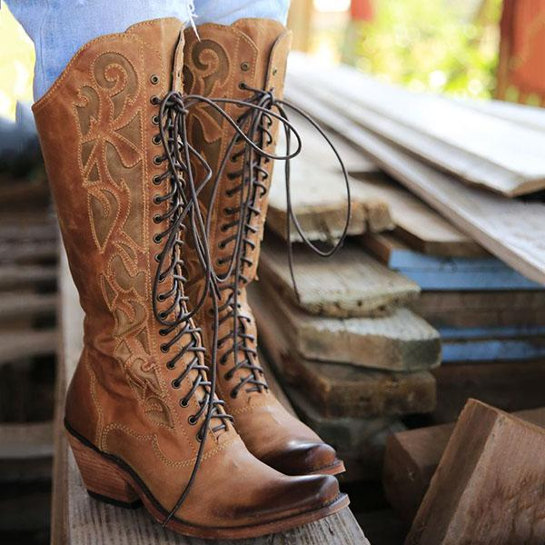 Faddishshoes Embroidered High Lace-up Prairie Boots