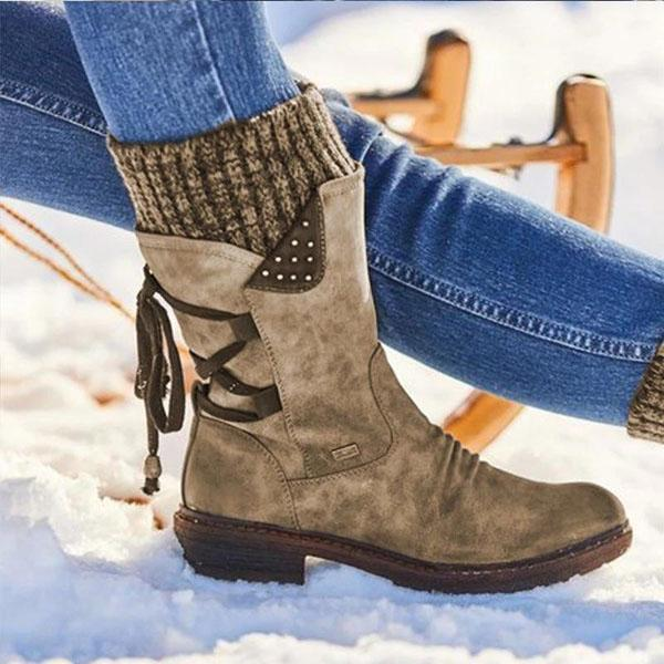 Bonnieshoes Warm Lace-Up Low Heel Boots
