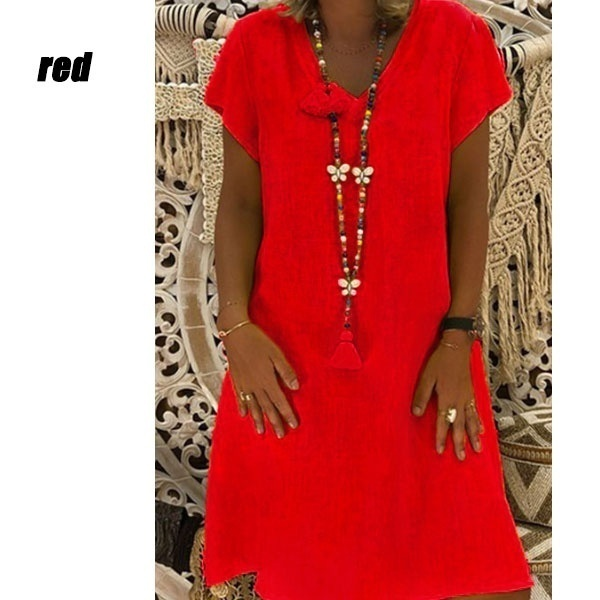 Women's Fashion Summer Casual T-shirt Dresses Loose Tunics Blouse V-neck Short Sleeves Dress Beach Dress Ruffles Party  Plus Size XS-8XL
