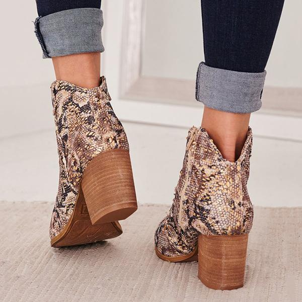 Bonnieshoes Snake Heeled Booties