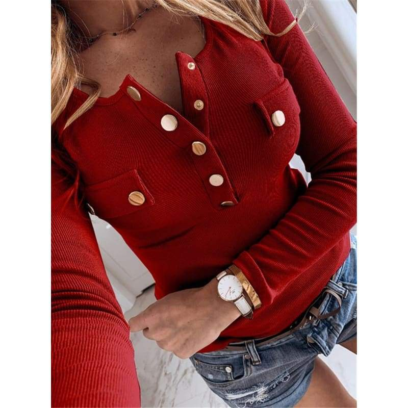 Autumn Winter Casual Button Pocket Long Sleeve Slim T-shirt U-Neck Bodycon Bottoming Blouse