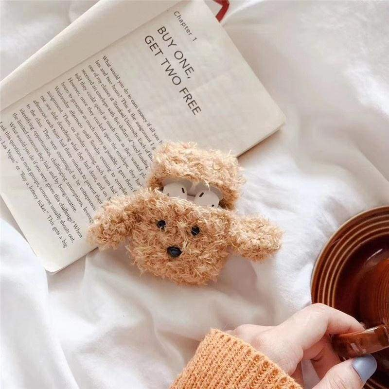 1PC Plush Puppy Dog Apple AirPods Case Cover Protector iPhone Earphone Accessories
