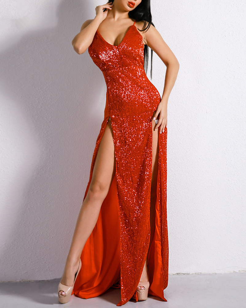 Sexy Off-The-Shoulder Backless Sequin Evening Dress