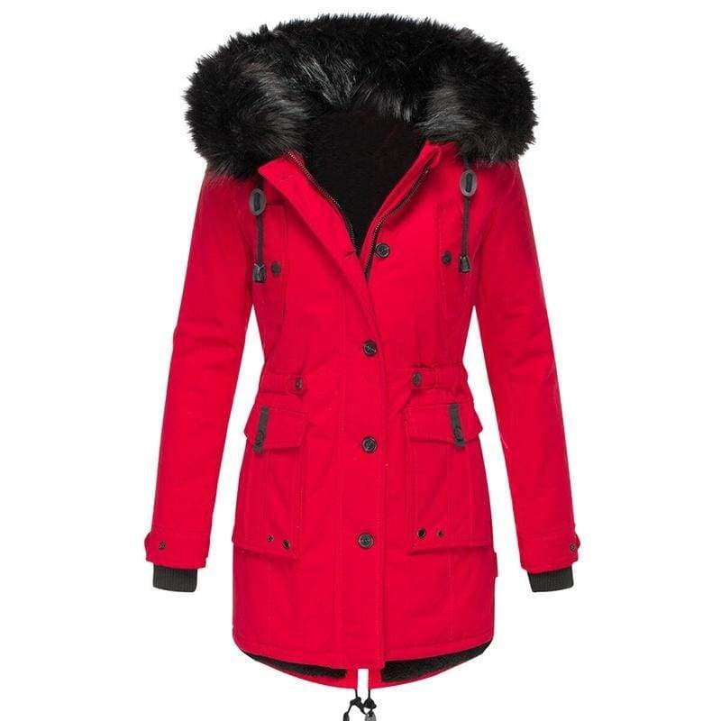 Plus Size New Women Fashion Casual Slim Winter Warm Thick Coat Drawstring Hooded with Big Fur Collar Pocket Jacket Long Down Jacket
