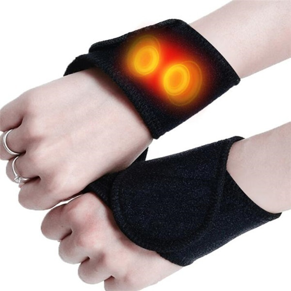 2PCS Health Care Tourmaline Self-Heating Wrist Brace Band Support Far Infrared Magnetic Therapy Pads Braces