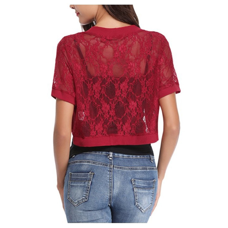 Women Short Sleeve Floral Lace Shrug Open Front Bolero Cardigans Tops
