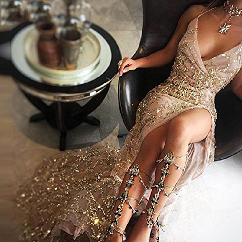Fashion Sexy Sequin Suspenders High Slit Evening Dress