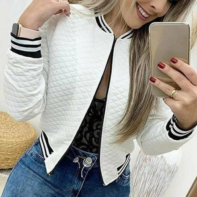 Women's zipper quilted bomber jacket fashion short jacket coat