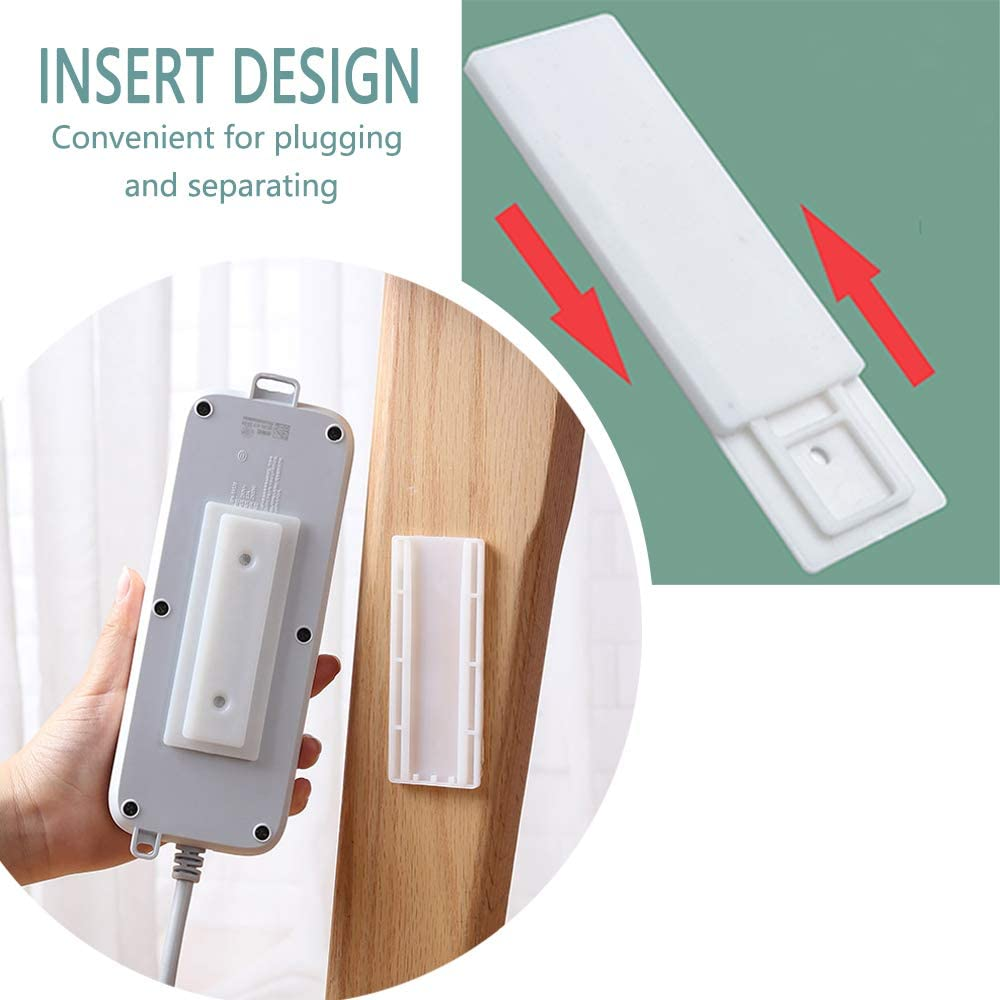 Power Strip Holder Fixator, No Hole Plug-in, Loading 10Kg Maximum, for Desk, Wall, WiFi Router, Remote Control, Paper Towel Box