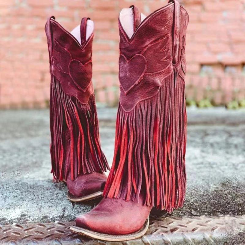 Women Retro Handmade Fringed Boots Wedding Boots