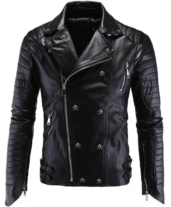 Statement Leather Long Sleeve Stand Collar Floral with Jacket(Plus Size)