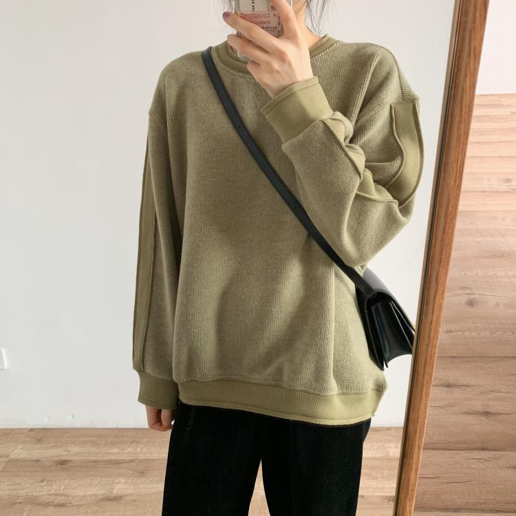 Design sense fleece cotton reverse stitching light version round neck sweater sweater sweater three-dimensional sleeve stitching casual autumn and winter sweater coat