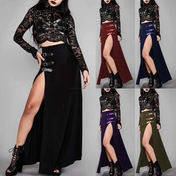 Plus Size S-4XL Women Medieval Cosplay Skirts Female Court-Style Gothic High Split Patchwork Long Skirts Sexy High Split Buckle Skirt(no Tops)
