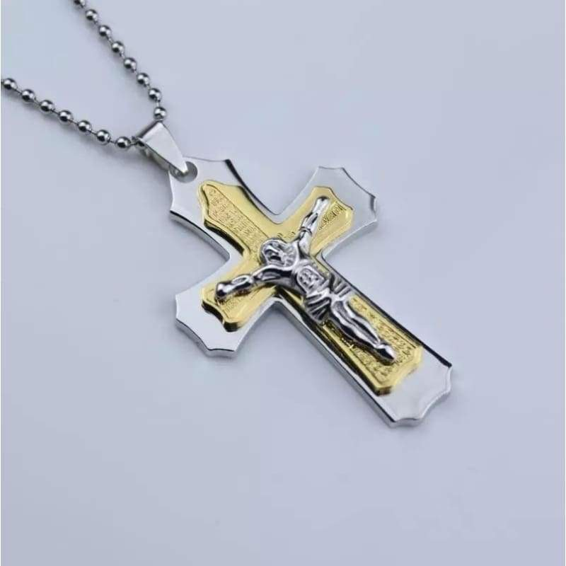 Jesus Bible verse cross Titanium steel Pendant Round beads chain necklace men necklace women necklace jewelry