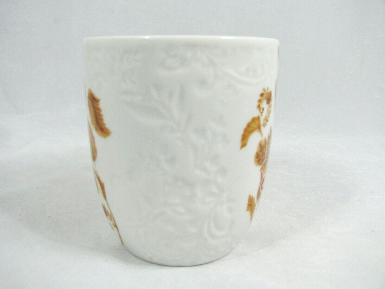 Pier 1 Imports Embossed Brown Leaves AVA Initial N Monogram White Cup Mug 12 Oz