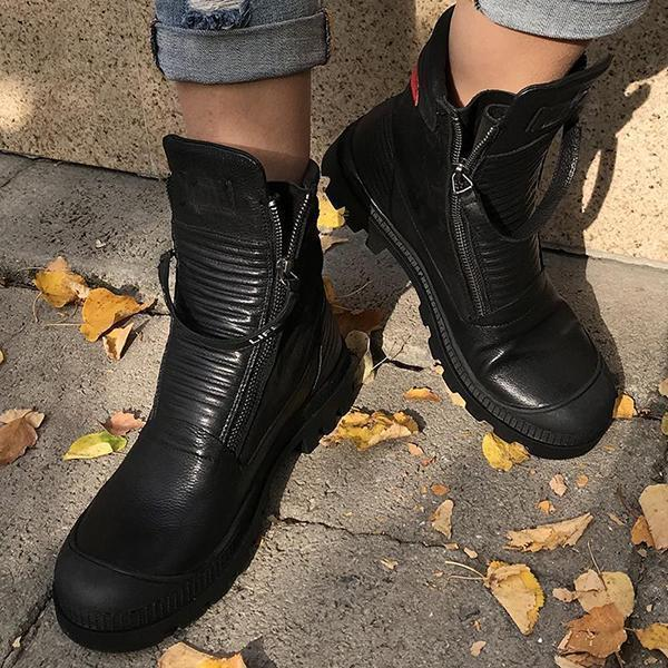 Mokoshoes Comfortable Pu Leather Ankle Boots Low Heel Zipper Boots